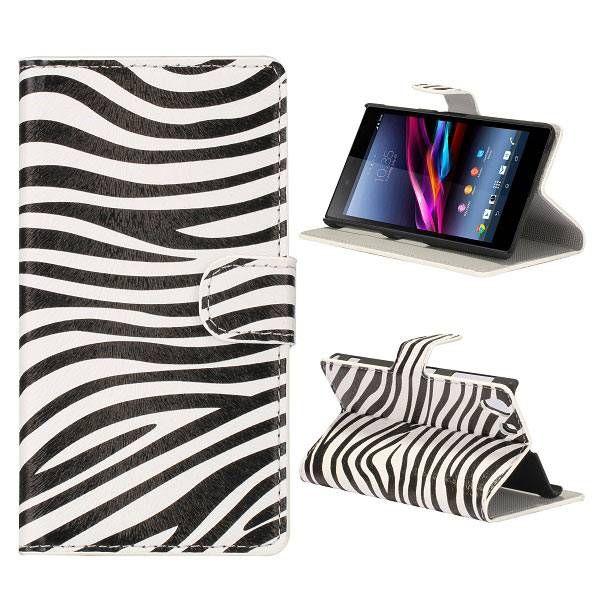 Zebra patroon booktype hoesje voor Sony Xperia Z1