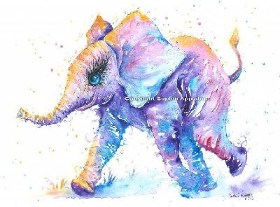 Elephant baby elephant painting by Sophie Appleton £13.95 on the 'Art 4 SALE' page of www.sixfootsophie.co.uk