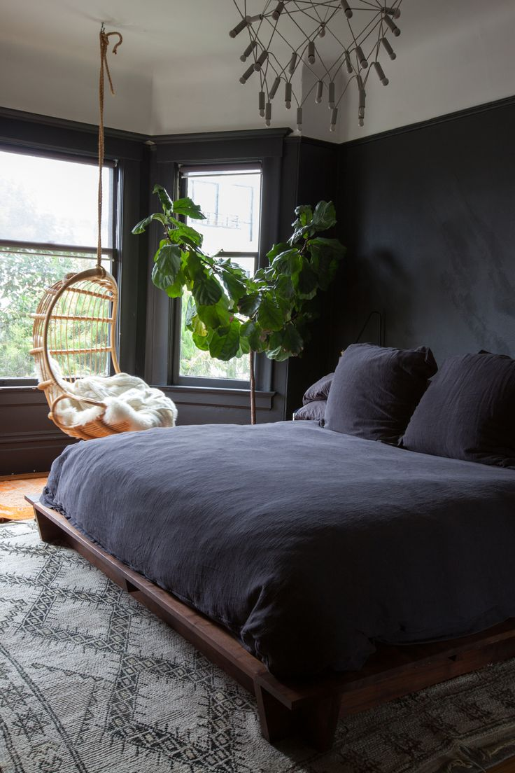 San Francisco House Tour. Hanging ChairsHanging BasketsCharcoal BedroomBlack  Bedroom WallsDark ...