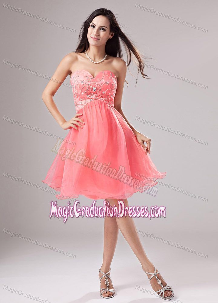 Lovely Watermelon Red Sweetheart Short Pageant Grad Dresses with Beading
