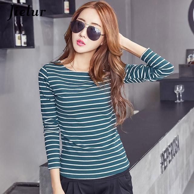 18 S-3Xl Plue Size T Shirt Women Autumn Long Sleeve Stripe Tee Shirt Femme Solid Color Chic Basic Camiseta 6 XXL 4