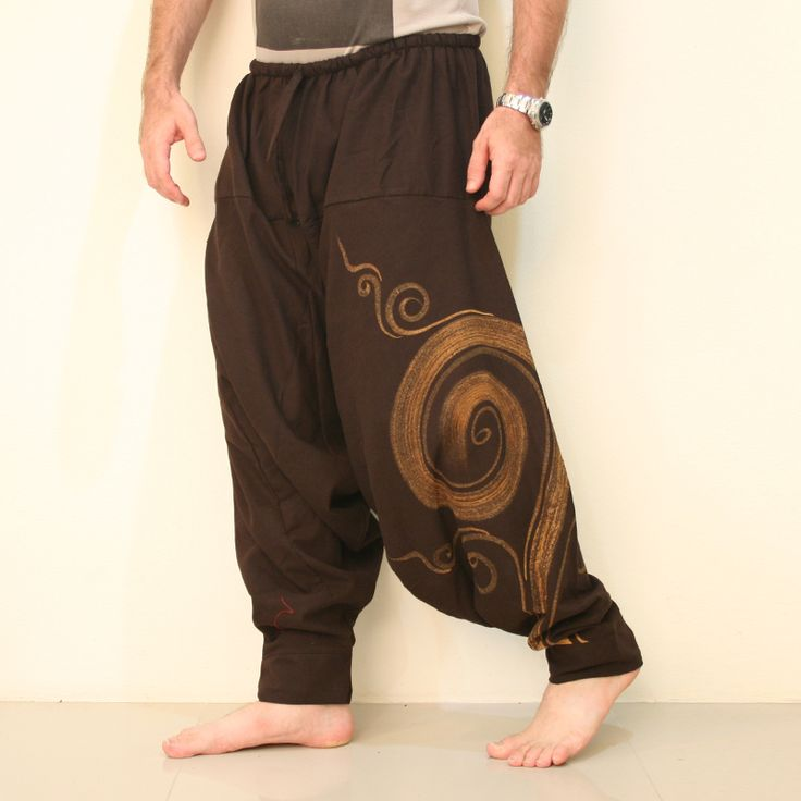 Aladdin Baggy Harem Pants Men - Fabric: Aladdin Pants made of 100% Cotton Outer Leg: 41 (104cm) Inner Crotch: 31.5 (80cm) Waist Style: Elastic, Front tie *Around the Waist elastic from 30 up to 50 max (76cm-127cm Fit for Mens Size: S-M-L-XL