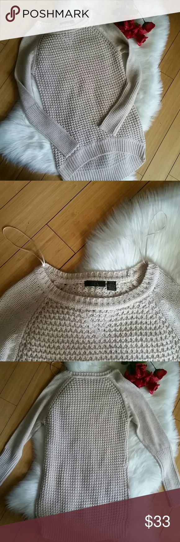 Long knit sweater Tan long oversized sweater. Sweater weather is coming up!! Would look amazing with jeans and boots of any kind 😍😍 make an offer! RDI Sweaters Crew & Scoop Necks