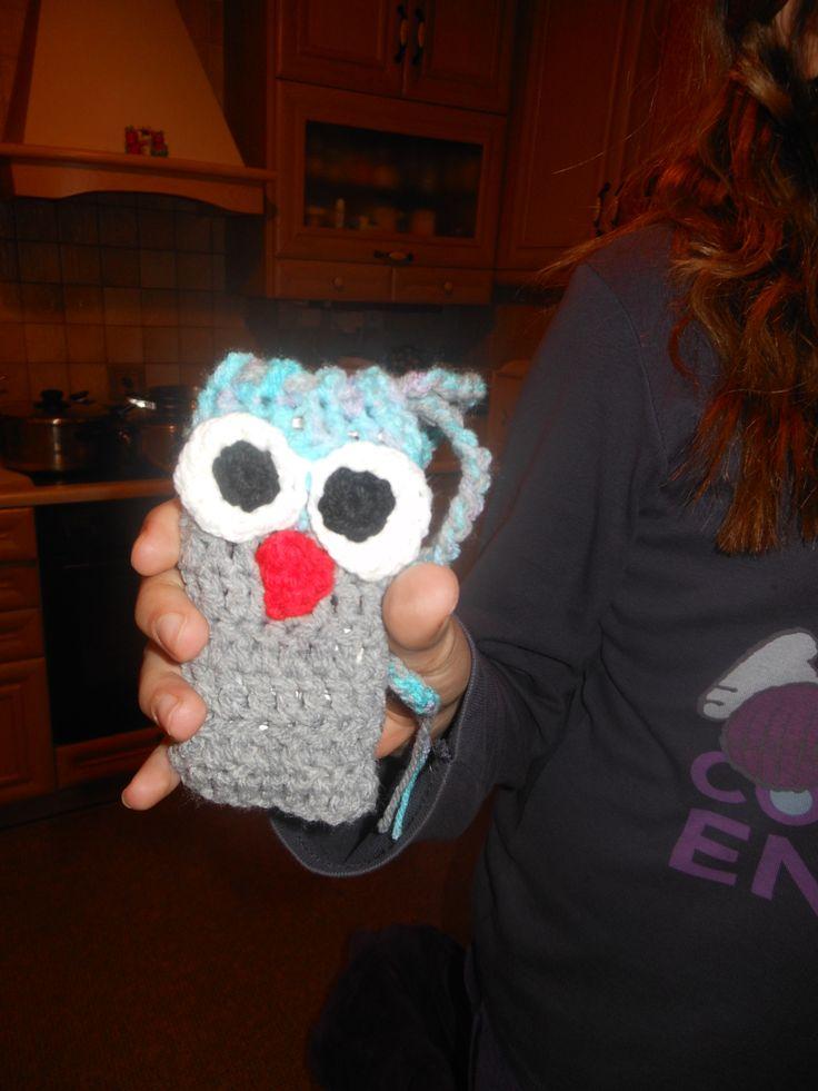 crochet cell phone pouch /βελονάκι θήκη κινητού κουκουβαγια