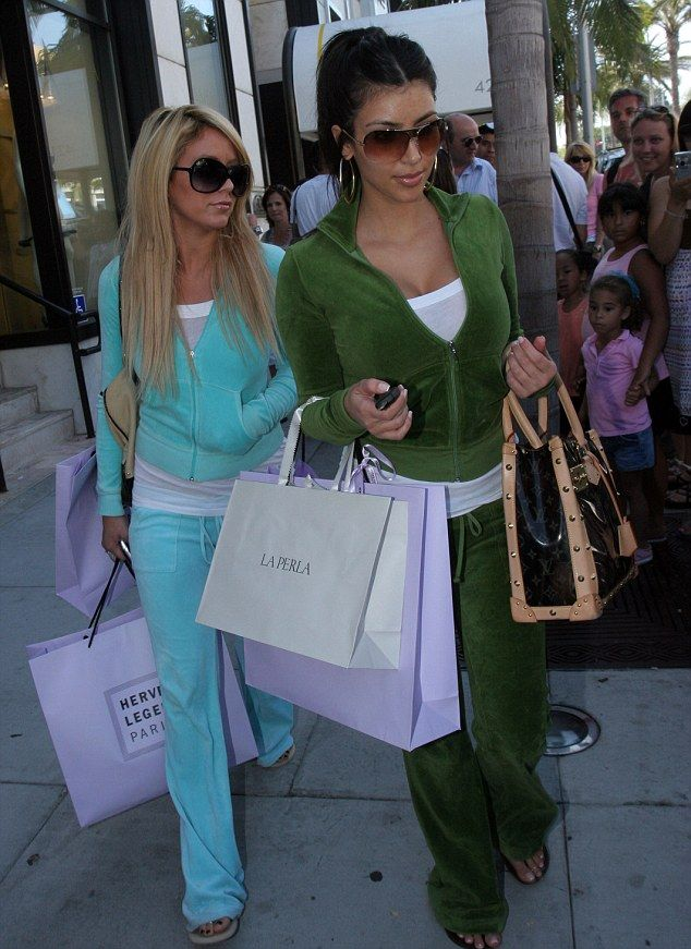 Velour tracksuits were popular in the early 21st century. The ensemble included a zip up jacket and matching sweat pants. The suits came in almost every color imaginable.