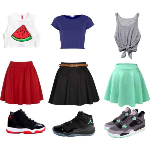 crop tops skater skirts and jordans galore by