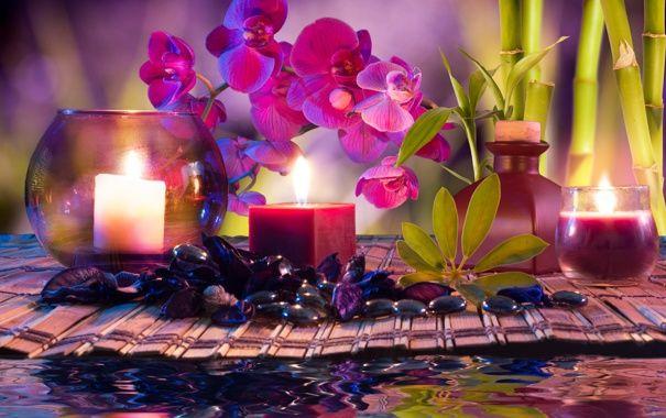 Обои картинки фото спа, спа камешки, свечи, вода, бамбук