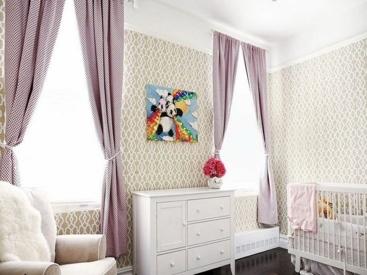 Amazing lila fenstervorh nge im designer kinderzimmer