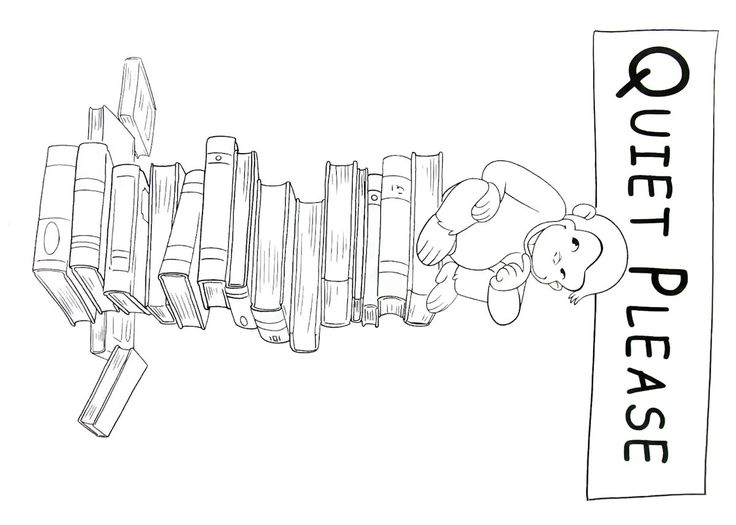 curious george at the library printable coloring book page for kids - Curious George Coloring Books