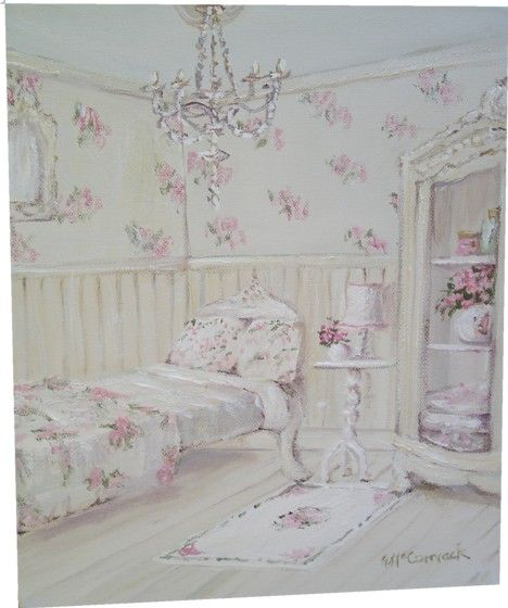 Original Whimsical Painting - The Shabby Chic Floral Guest Room - Postage is included Australia Wide