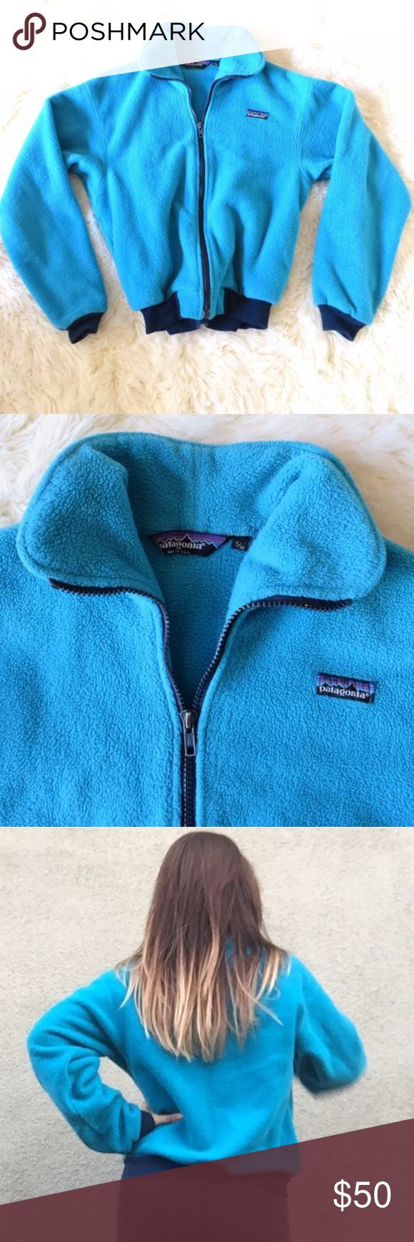 Retro Patagonia Fleece Turquoise Snow Ski Jacket Retro 80s or 90s Patagonia fleece and aqua blue. Full zipper, dark blue elastic cuffs and ham. If you've ever owned a Patagonia jacket you know how warm and insulated they are! Obsessed with mine and selling the ones I don't wear as much. This Best fits an xs-small in women's. Patagonia Jackets & Coats