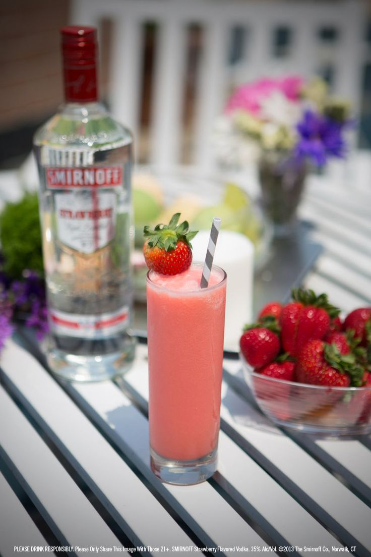 I WANT THIS NOWWW!! Smirnoff® Strawberry Swirl drink recipe with 1.5 oz Smirnoff® Strawberry Flavored Vodka, 4 strawberries, 4 oz ice. Add ice to blender. Add Smirnoff® Strawberry Flavored Vodka and strawberries. Blend well. Serve in a highball glass; garnish with a fresh strawberry if desired.