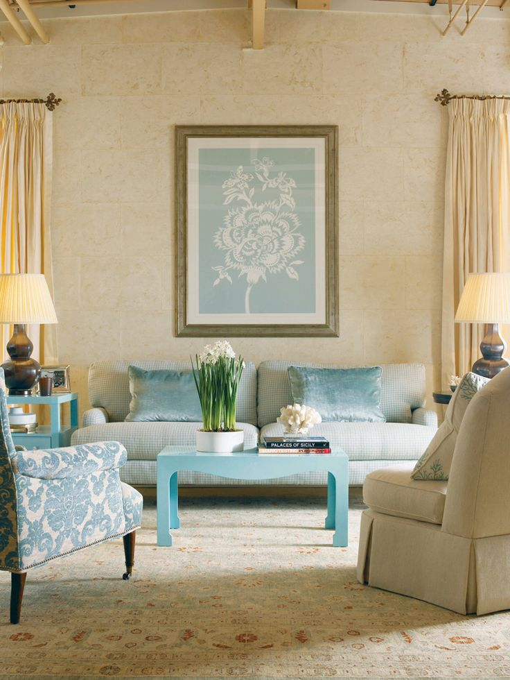 Soft, wonderful colors....    Love the beauty and grace of this room.  I especially like the blue & white chair.