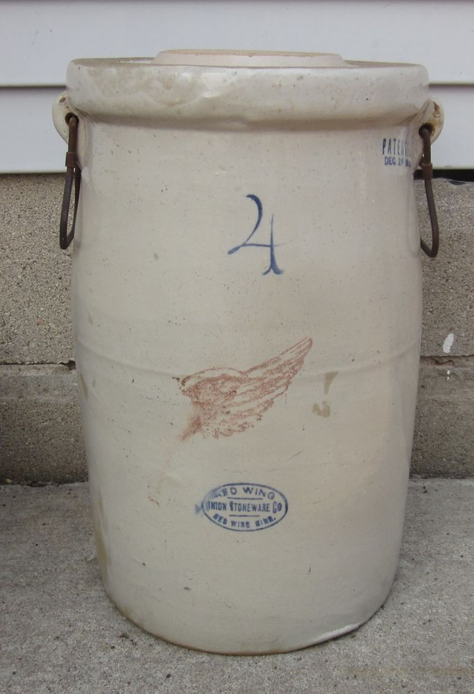 Antique 4 Gallon Red Wing Stoneware Butter Churn, Lid, Bail Handles, Pat. 1915 #RedWing