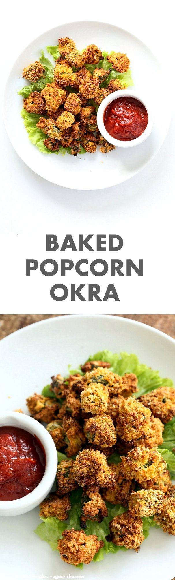 Baked Popcorn Okra. Okra / Bhindi coated in chickpea flour batter, tossed in spiced breadcrumbs and baked until crunchy crisp. #Vegan #Recipe, can be #glutenfree and #oilfree. | VeganRicha.com