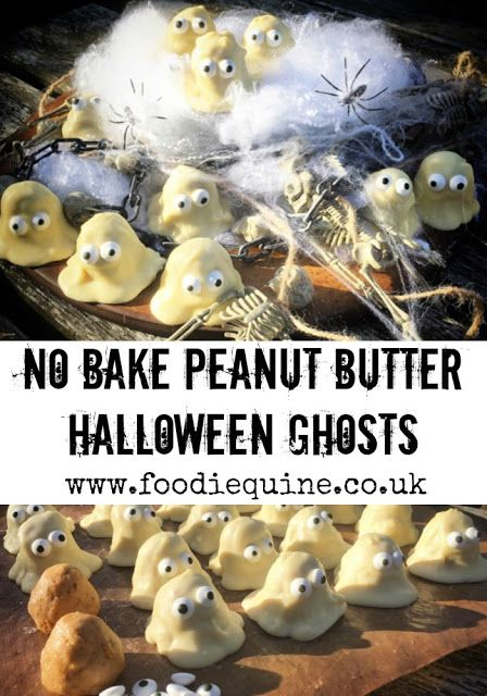 www.foodiequine.co.uk Spooky but Cute, these Ghostly no bake treats are perfect for Halloween. Featuring peanut butter, white chocolate and edible eyes they are ideal for Halloween Parties and Trick or Treat.