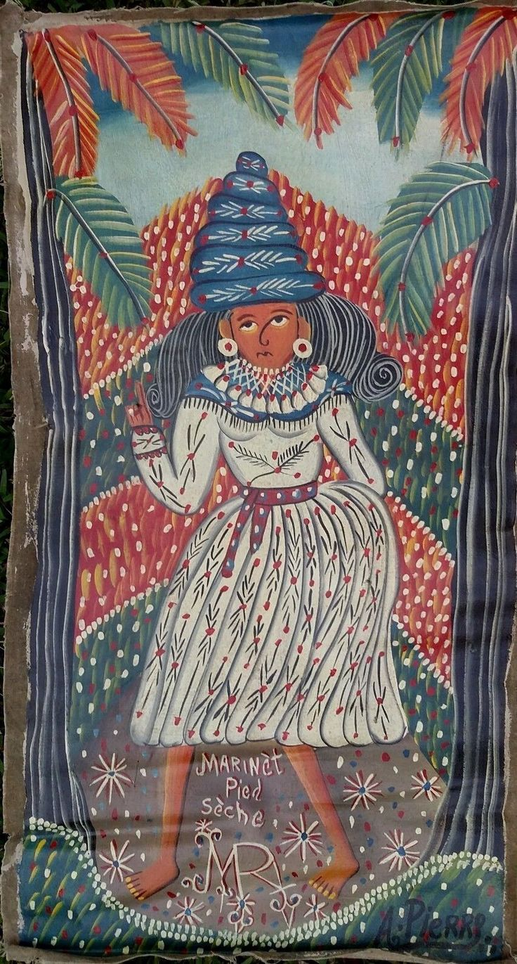 VINTAGE HAITIAN ART BRUT PAINTING BY ANDRE PIERRE
