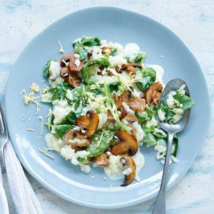 Recept - Paddenstoelenrisotto met spinazie - Allerhande