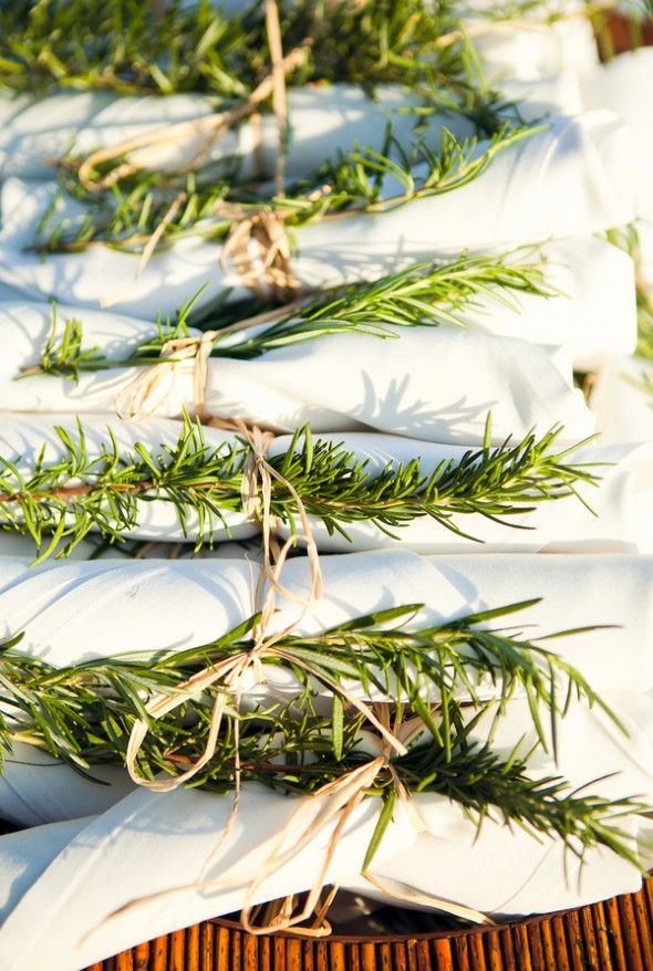 {table fragrance} cheap and pretty — tie silverware rolls with twine and sprigs of rosemary. #partyfood