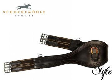 SCHOCKEMÖHLE barna kishasvédős heveder Minőségi bőrből készült kishasvédős heveder.   Technikai paraméterek  - anatómiailag formált kialakítás  - elasztikus betétek mindkét végén  - eloszlatja a nyomást  - D gyűrű mindkét oldalon  - narancssárga színű karabinerrel középen