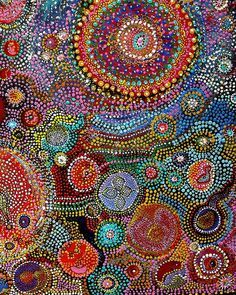 This aboriginal style art could be the model for a mosaic or embroidery.