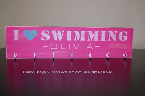 I Love Swimming Ribbon Holder Display Rack -  Customization & Personalization Available