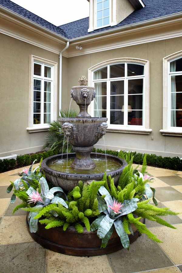 terrific water garden design with made to measure | Great idea with plants under water fountain. They add the ...
