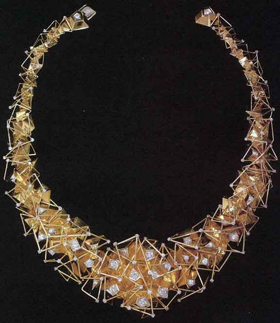 """Bill Reid gold and diamond necklace, 1969. The central portion can be detached and worn as a brooch. From """"Bill Reid"""" by Karen Duffek."""