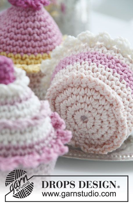 Crochet DROPS cupcakes FREE pattern. Just adorable. Thanks so xox