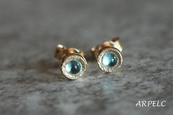 Sky blue topaz  stud earrings natural London blue topaz by ARPELC