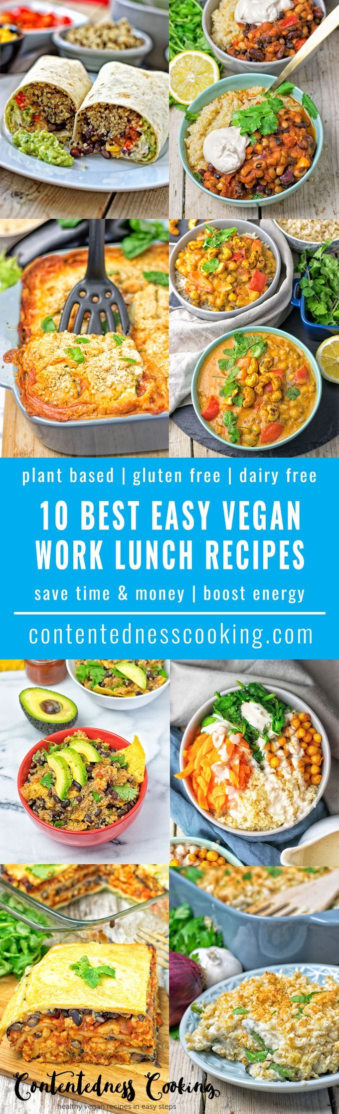 My list of the 10 Best Easy Vegan Work Lunch Recipes for you to enjoy a stress free lunch break and skip the greasy fast food options. 10 perfect meals to save you time and money and boost you with energy in the middle of the day. #vegan #glutenfree #lunc