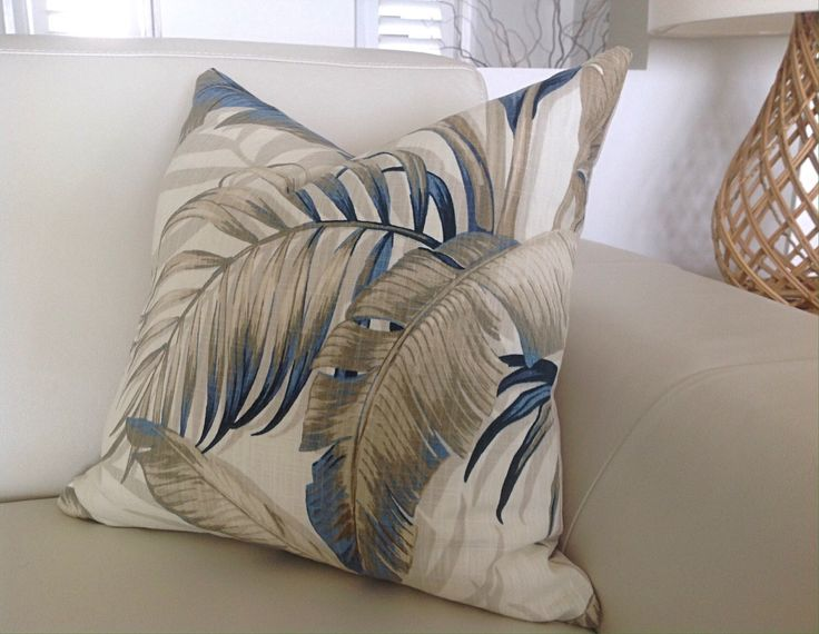 Cushions Tropical Pillows, Palmier Tropical Cushion Covers, Blue and Natural Cushions, Scatter Cushion, Green Pillow, Palms. by MyBeachsideStyle on Etsy https://www.etsy.com/listing/400879353/cushions-tropical-pillows-palmier