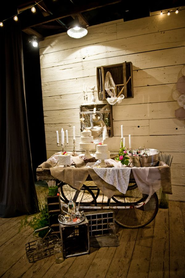 Rustic cake table and decor