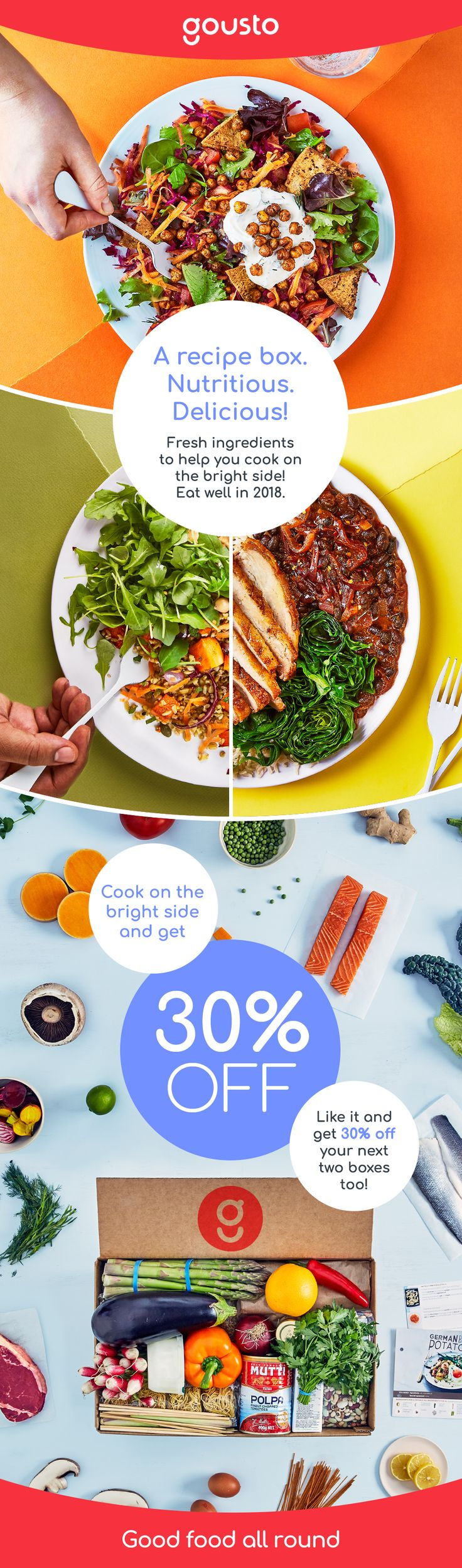 Eat better in 2018: it's simple with a recipe box!  Limited offer: 30% off your first box! That is less than £30 per box for 3 delicious meals for 4 people.