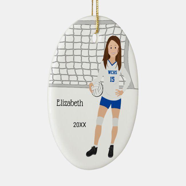Volleyball Female Brunette Blue White Ceramic Ornament Zazzle Com Ceramic Ornaments White Ceramics Blue And White
