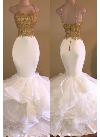 Stunning Babyonlinedress http://www.babyonlinedress.com/g/Sexy-Gold-White-Ruffles-Lace-Mermaid-Prom-Dresses-108224.html?utm_source=blog&utm_medium=1009&utm_campaign=social