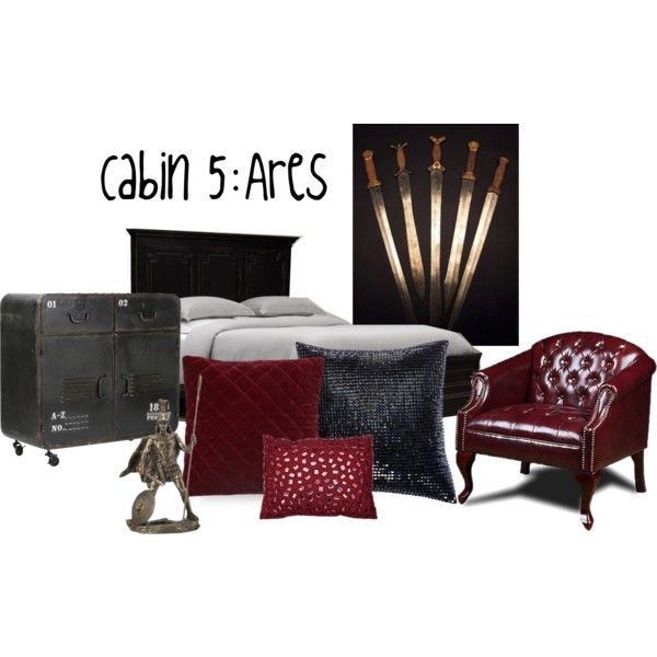 Cabin 5: Ares - Percy Jackson by super-clover on Polyvore featuring interior, interiors, interior design, home, home decor, interior decorating, Restoration Hardware, Donna Karan and Thro
