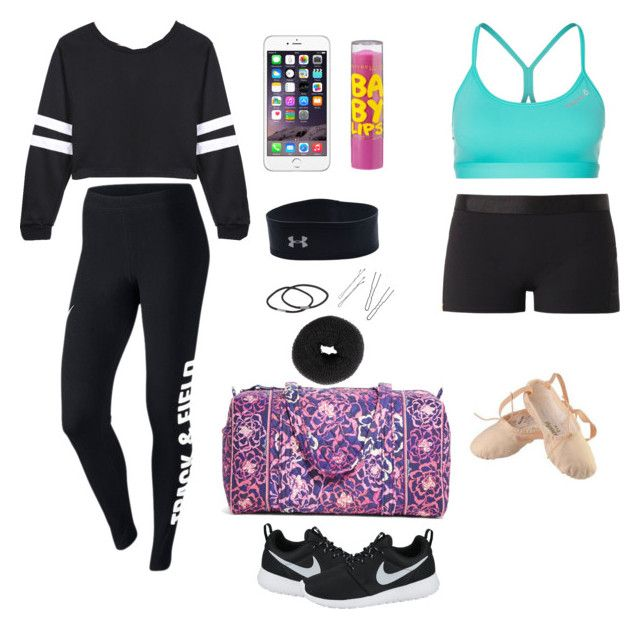 """Dance Practice"" by simplyme101 on Polyvore featuring Reebok, Monreal, Jole Dance, Maybelline, Under Armour, NLY Accessories, Vera Bradley and NIKE"