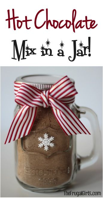 Hot Chocolate Mix in a Jar! {this makes a such a quick and fun gift!} #cocoa #masonjars | TheFrugalGirls.com