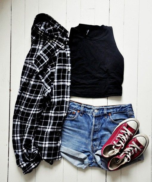 ~ Grunge-y dark plaid button up, crew neck black crop top tank sleeves, blue denim shorts, beat up red converse