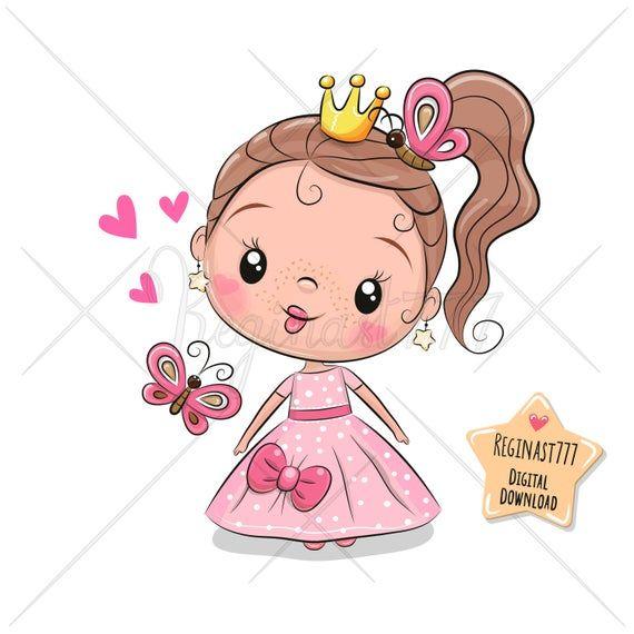 Princess Clipart Png Cute Princess Clip Art Girl Baby Etsy In 2021 Cute Cartoon Girl Cute Drawings Cute Princess