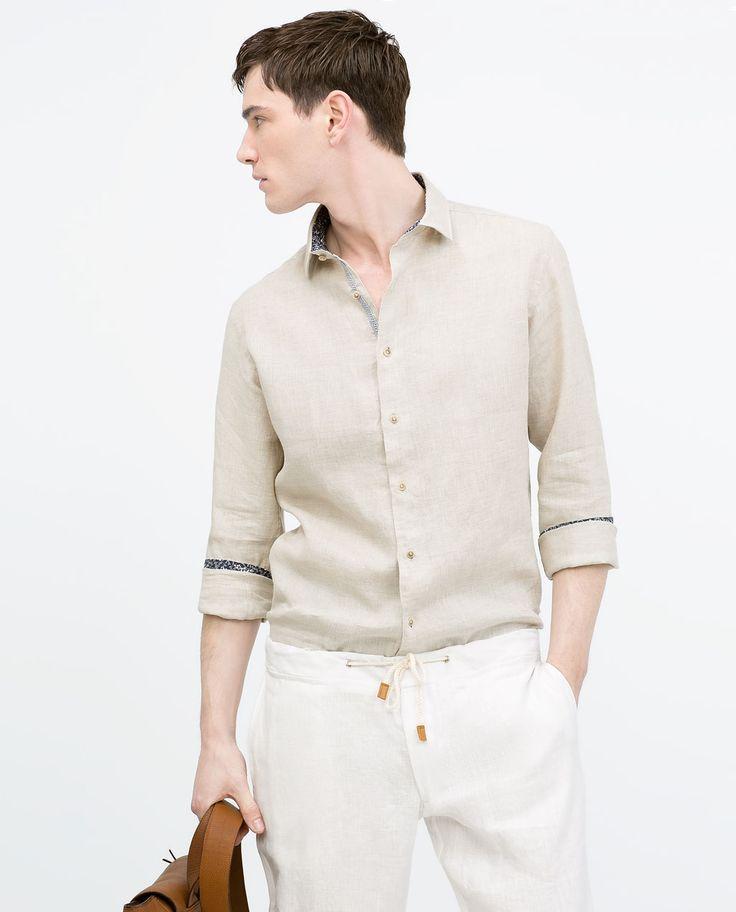 Afbeelding 3 van Linnen overhemd met contrast van Zara