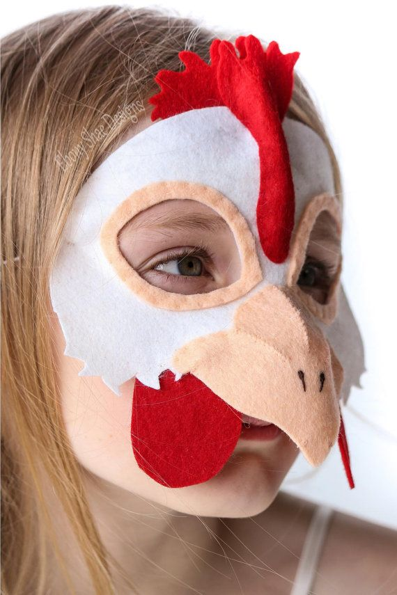 Cock-a-doodle-doo!  Sew up a fun and cute chicken mask in under 2 hours, with our mask sewing pattern, a few pieces of felt and some hat elastic!  Soft
