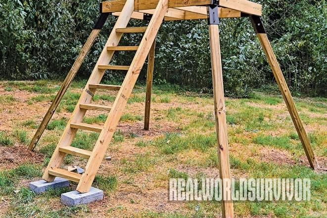 Steps are the first addition to the elevated platform to for Deer stand steps