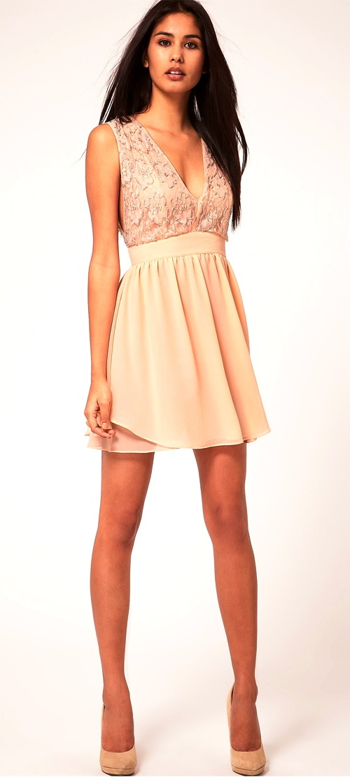 Lovely Beige skater dress wedding guest outfit