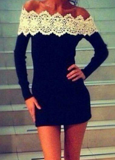 black mini dress with crochet detailed neckline
