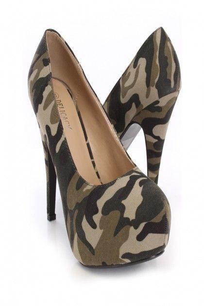 Camouflage Printed Canvas Platform Pump Heels $9.99