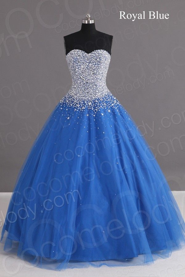 Charming Ball Gown Sweetheart Floor Length Tulle Blue Lace-up Corset Quinceanera dress with Crystals COLF1400F - Glitz & Glare - Special Occasion Dresses