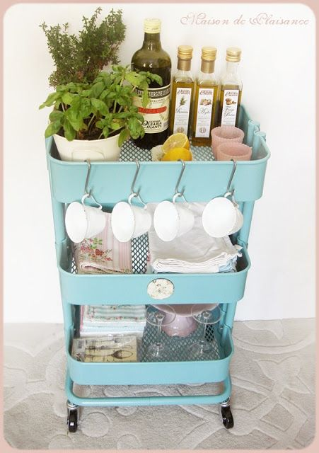 Organizing a kitchen cart, like the IKEA RÅSKOG
