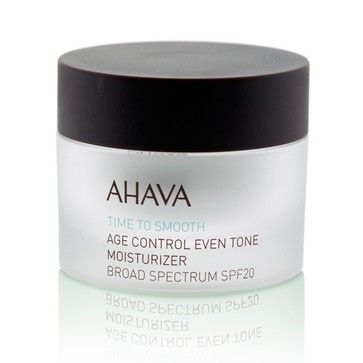 Ahava Age Control Even Tone Moisturiser SPF20 - $69.95. This advanced multi-benefit formula helps correct uneven skin tone, brighten skin's appearance and reduce the appearance of fine lines for a visibly younger, smoother look. Using AHAVA's patented complexes, this rich cream provides ultimate all day hydration for the skin as well as broad-spectrum protection.